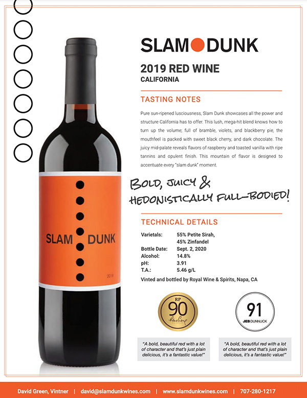 2019 Slam Dunk Wines Tasting Notes